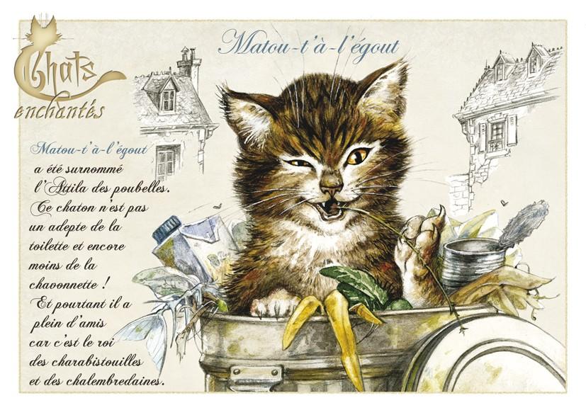 Carte Postale Chat Matou-t'a-l'égout
